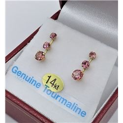 14KT YELLOW GOLD GENUINE PINK TOURMALINE EARRINGS - RETAIL $500, 1.2CTS TOURMALINE BIRTHSTONE OCTOBE