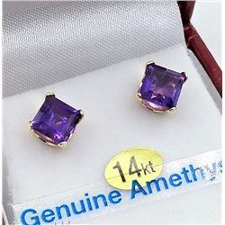 14KT YELLOW GOLD 6X6MM GENUINE AMETHYST EARRINGS - RETAIL $800