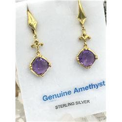 STERLING SILVER YELLOW GOLD PLATED 8X8MM GENUINE AMETHYST EARRINGS W/ APPRAISAL $300 - 3.5CTS AMETHY
