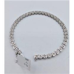 STERLING SILVER DIAMOND TENNIS BRACELET W/ APPRAISAL $2000 - 40 DIAMONDS (0.4CTS)