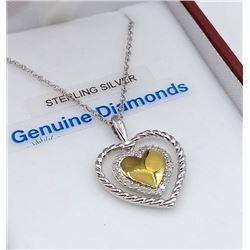 STERLING SILVER DIAMOND HEART PENDANT W/ CHAIN W/ APPRAISAL $1035 - 27 DIAMONDS (0.1CT) BIRTHSTONE A