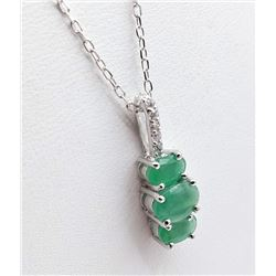 STERLING SILVER 6X4MM GENUINE EMERALD AND CZ PENDANT W/ STERLING CHAIN W/ APPRAISAL $800 - 1CT EMERA