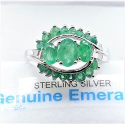 STERLING SILVER GENUINE EMERALD COCKTAIL RING W/ APPRAISAL $885 - SIZE 7, 19 EMERALDS (1.5CTS)