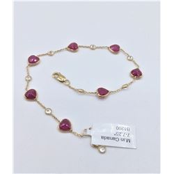 14KT YELLOW GOLD NATURAL RUBY AND WHITE SAPPHIRE HEART BRACELET W/ APPRAISAL $2130 - 7CTS RUBY