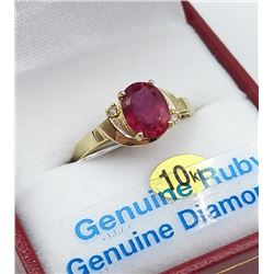 10KT YELLOW GOLD 8X6MM GENUINE RUBY AND DIAMOND RING W/ APPRAISAL $1295 - SIZE 7, 1.25CT RUBY, 0.02C
