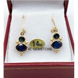 14KT YELLOW GOLD GENUINE BLUE SAPPHIRE DROP EARRINGS W/ APPRAISAL $1500 - 4 SAPPHIRE (2CTS)
