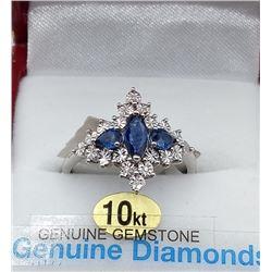 10KT WHITE GOLD GENUINE BLUE SAPPHIRE AND DIAMOND RING W/ APPRAISAL $1480 - SIZE 6.75, 0.6CT SAPPHIR