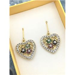 STERLING SILVER YELLOW GOLD PLATED GENUINE RUBY, SAPPHIRE, EMERALD, AND DIAMOND HEART EARRINGS W/ AP
