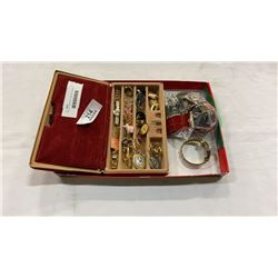 JEWELRY CASE WITH PINS, BELT BUCKLE
