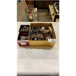 BOX OF BANGLES AND 2 BOXES OF RHINESTONE JEWELLERY