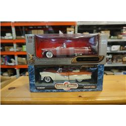 TWO 1:18 SCALE DIE CAST CARS - ROAD SIGNATURE LEATHER SERIES 1957 THUNDERBIRD AND AMERCAN MUSCLE 56