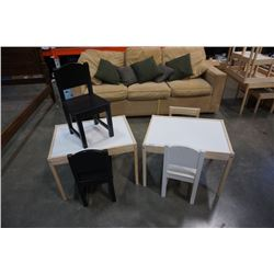 2 KIDS TABLES AND 5 CHAIRS