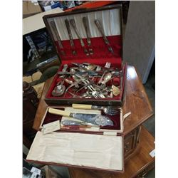 BOX OF CUTLERY, ONEIDA SERVICE PLATE, BIRKS EP, AND OTHER