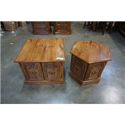 2 WOOD ENDTABLES HEXAGON AND SQUARE