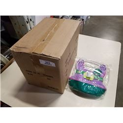 CASE OF 24 NEW SQUEEZ EMS REUSABLE FOOD POUCHES RETAIL $11.99 FOR 2 - RETAIL TOTAL $140 AND SOFT BIB