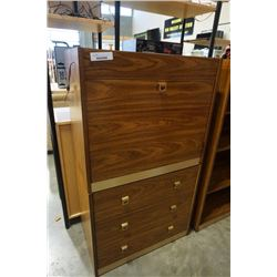 2 pc illuminated drop front desk with drawers