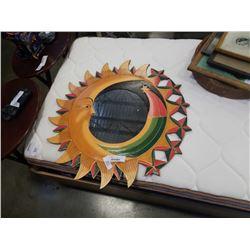 WOODEN DECORATIVE SUN/MOON MIRROR