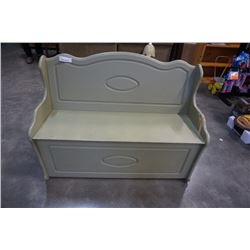PAINTED GREEN STORAGE BENCH