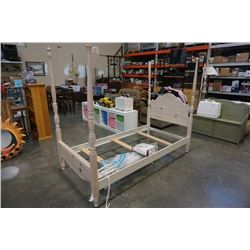 WHITE WOOD TWIN SIZE BED FRAME