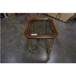 Glass insert square coffee table