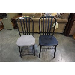 TWO WOOD PAND METAL CHAIRS