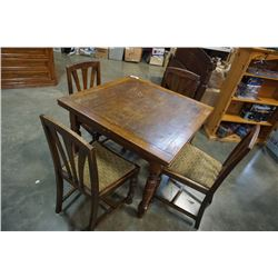 VINTAGE OAK DRAWLEAF DINING TABLE WITH 4 CHAIRS