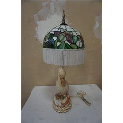 VINTAGED LEADED GLASS PELICAN LAMP