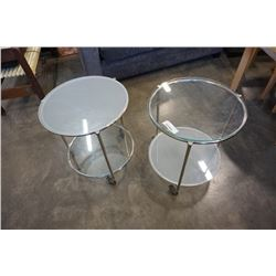PAIR OF ROUND ROLLING GLASSTOP 2 TIER ENDTABLES