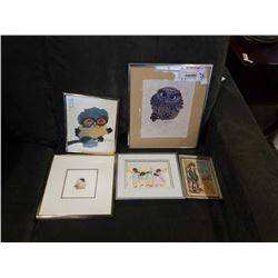 LOT OF SMALL PRINTS, OWLS, FIRST NATIONS AND OTHER