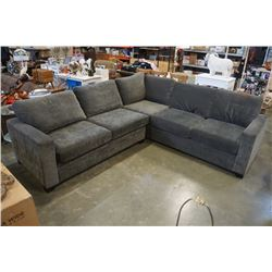 LARGE GREY UPHOLSTERED HIDE A BED SECTIONAL PILLOWBACK
