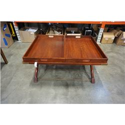POLO RALPH LAUREN COFFEE TABLE WITH 2 SERVING TRAY INSERTS - ROSEWOOD