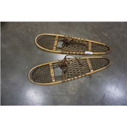 PAIR OF FABER SINEW AND WOOD SNOWSHOES