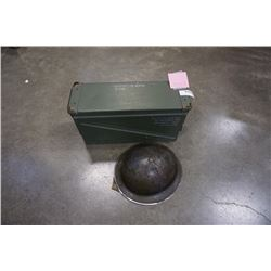 WW2 ARMY HELMET WITH LINER AND AMMO BOX FOR 40MM LINKED CARTRIDGES