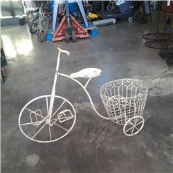 White decorative metal tricycle plant holder