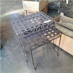 2 decorative metal nesting tables