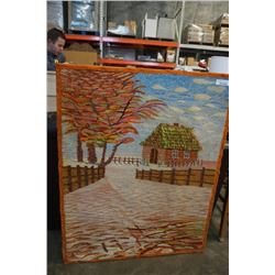 """LARGE WOOL NEEDLE POINT STYLE WALL ART 39"""" X 49"""""""