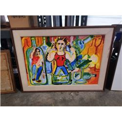 """Oil on board """"The bottle problem"""" signed maxwell bates 1972"""