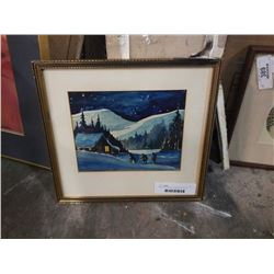 Water color on paper unsigned looks to be returning home at moonlight by Peter ewart