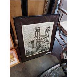 Signed framed building art