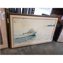 """Oil on canvas """"Boat speeding on the sea"""" Signed Raymond Chow 1990"""
