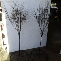 2 decorative metal tree candle holders