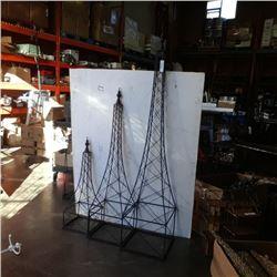 "3 decorative metal towers 72"", 55"" & 36"""