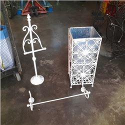 Decorative metal stand, towel bar and toilet paper holder