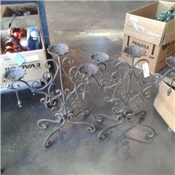 2 decorative metal candlestands