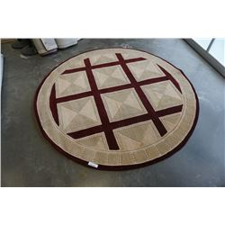 HAND MADE IN INDIA 100% WOOL AREA CARPET 6FT 10 IN DIAMETER - RETAIL $1681