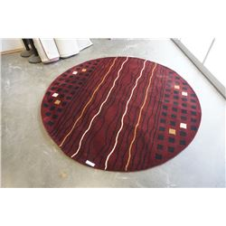 HAND MADE IN INDIA 100% WOOL AREA CARPET 7FT DIAMETER - RETAIL $1484