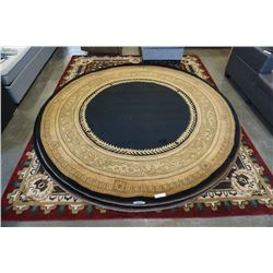 HAND MADE IN INDIA 100% WOOL AREA CARPET 7FT 11IN DIAMETER  - RETAIL $1880