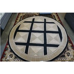 HAND MADE IN INDIA 100% WOOL AREA CARPET 8FT DIAMETER - RETAIL $1939