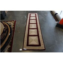 HAND MADE IN INDIA 100% WOOL CARPET RUNNER 2FT 7IN X 9FT 1IN  - RETAIL $922