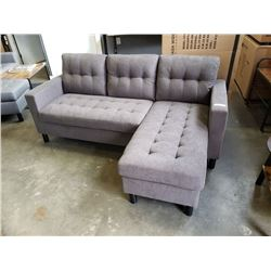 BRAND NEW CHARCOAL TUFTED REVERSIBLE SECTIONAL SOFA - RETAIL $899, NEW IN BOX